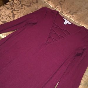 3/4 sleeve burgundy American eagle midi dress xs